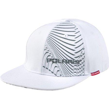 Flat Bill Baseball - Polaris White & Gray Flat Billed Isobar Fitted Baseball Cap Hat Size Small / Medium