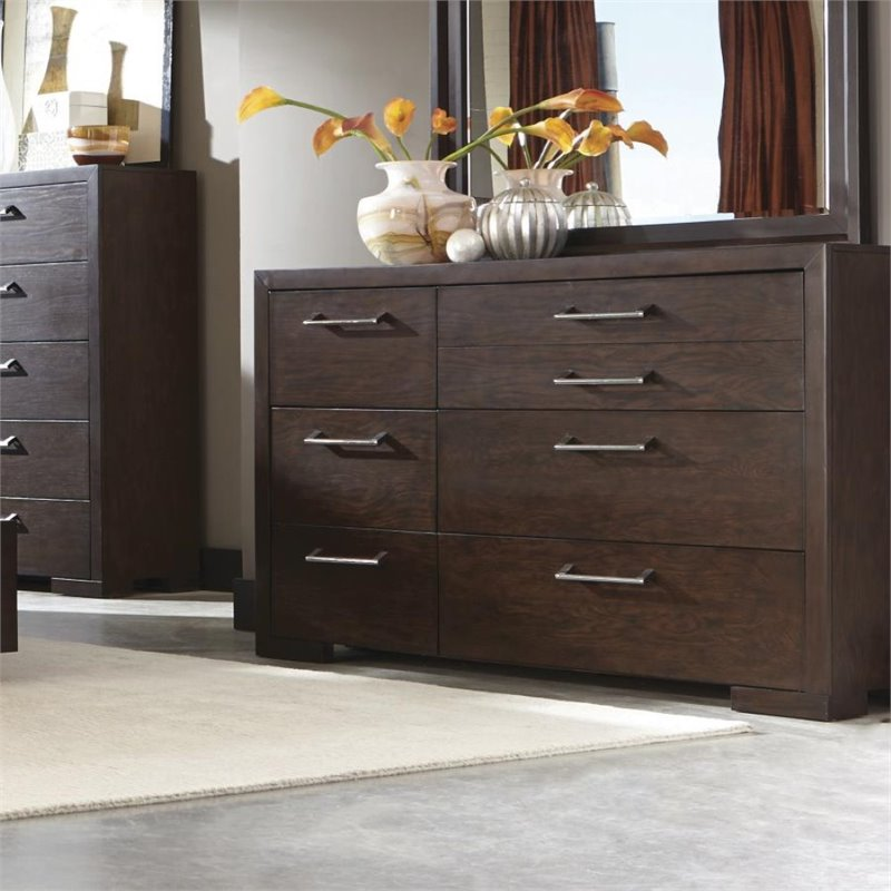Berkshire 204463 64 Dresser with 7 Drawers  Chrome Hardware  Full Extension Drawer Glides  Asian Hardwood and Red Oak Veneer Materials in Bitter Chocolate Finish""