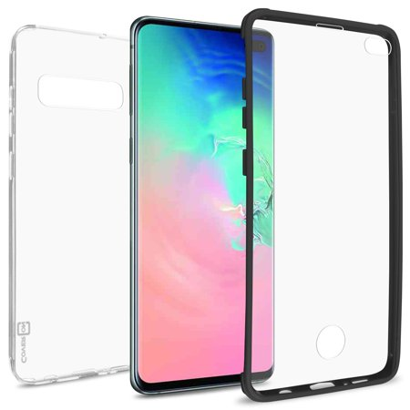 CoverON Samsung Galaxy S10 Plus Case with Built-In Screen Protector Slim Fit Full Body Phone Cover - Clear with Black