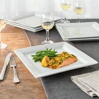 Better Homes & Gardens Square Dinner Plates, White, Set of 6
