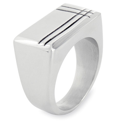 West Coast Jewelry Stainless Steel Polished Groove Band Ring