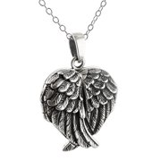 "Sterling Silver Crossed Angel Wings Heart Locket Necklace, 18"" Chain"