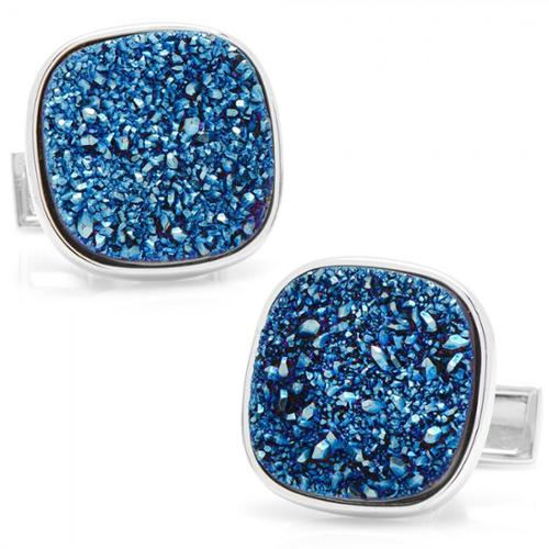Cufflinks Inc STERLING BLUE SQUARE DRUZY CUFFLINKS