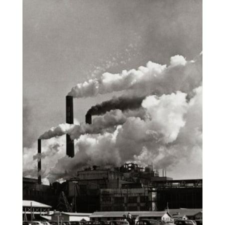 Smoke emitting from the smoke stacks of a paper mill Union Camp Corporation  Savannah Georgia USA Canvas Art - (18 x 24)