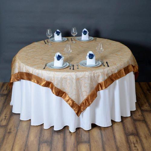 72 X Gold Satin Edge Embroidered Sheer Organza Square Table Overlay Walmart Com