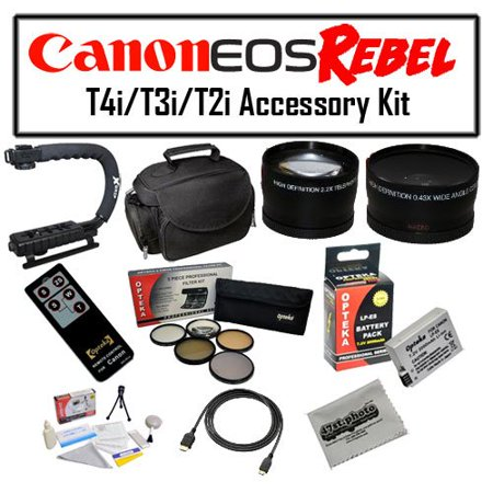 Deluxe Accessory Kit for Canon EOS Rebel T2i T3i T4i T5i DSLR Digital Camera with Opteka Gadget Bag, Opteka X-Grip Handle, Opteka LP-E8 Battery Pack, Opteka Wide and Telephoto Lens Set and More!