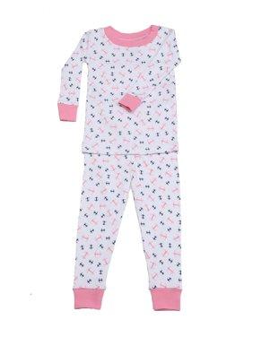 New Jammies Unisex Baby Pink Anchors Aweigh Cotton 2 Pc Sleepwear Set 12-24M