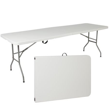 Best Choice Products 8ft Indoor Outdoor Portable Folding Plastic Dining Table for Backyard, Picnic, Party, Camp w/ Handle, Lock, Non-Slip Rubber Feet, Steel Legs - White
