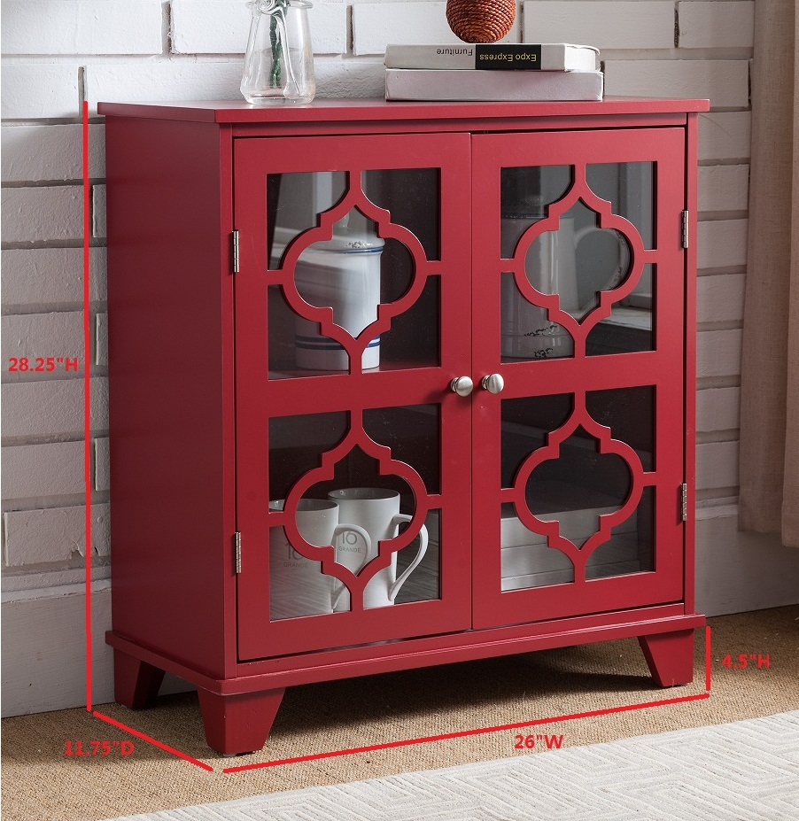Roman Red Wood Contemporary Accent Entryway Console Buffet Display Table  With Glass Cabinet Door Storage   Walmart.com