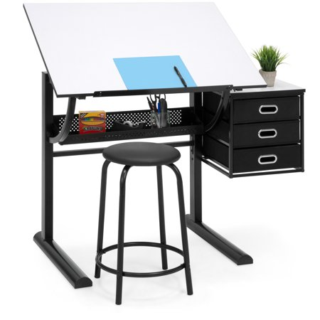 Fabric Covered Drafting Stool (Best Choice Products Drawing Drafting Craft Art Table Folding Adjustable Desk w/ Stool - Black/White)
