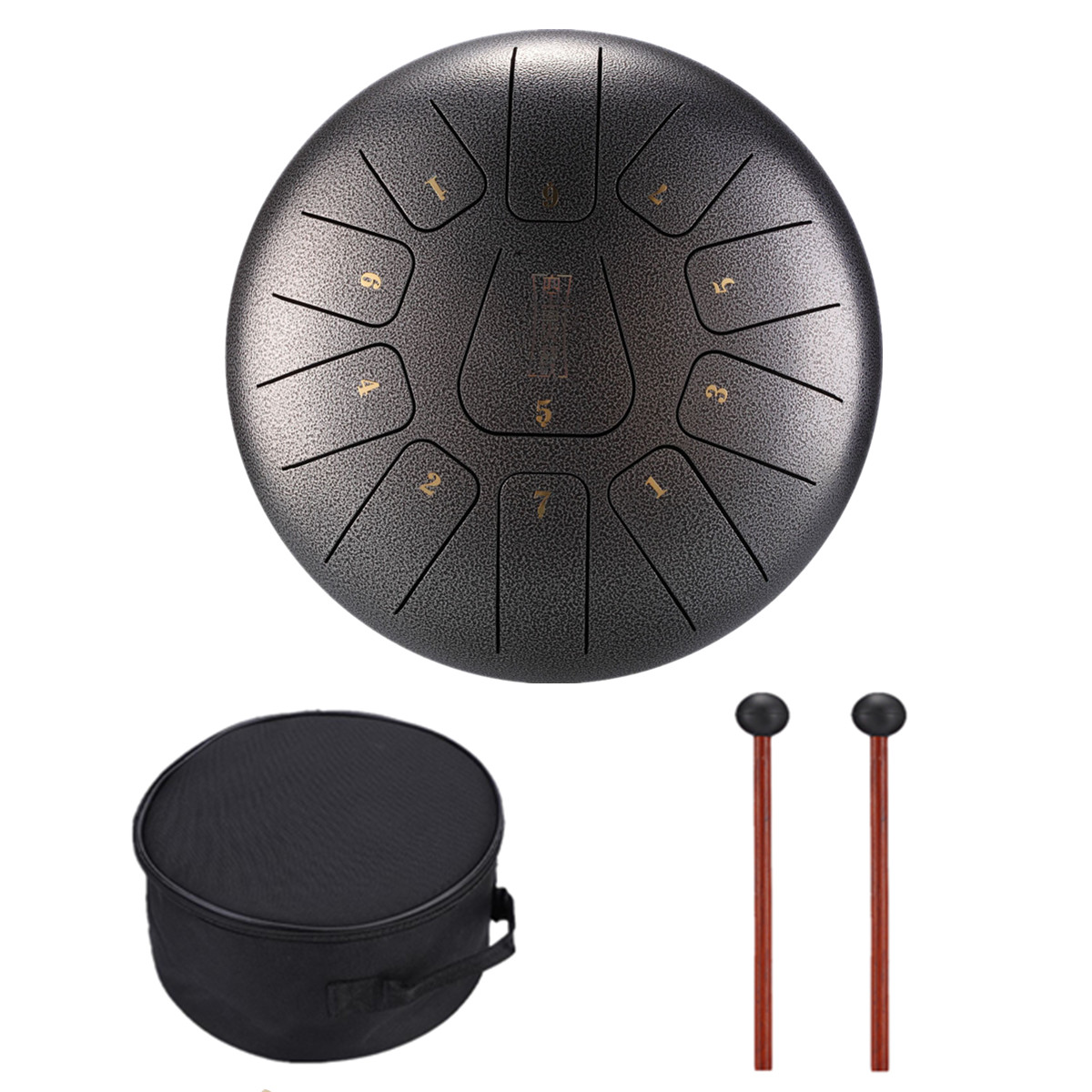 Grtsunsea 12 Inch Steel Tongue Drum Handpan C Major 11 Notes Percussion Instrument Hand Pan Tank Drum with Mallets & Bag
