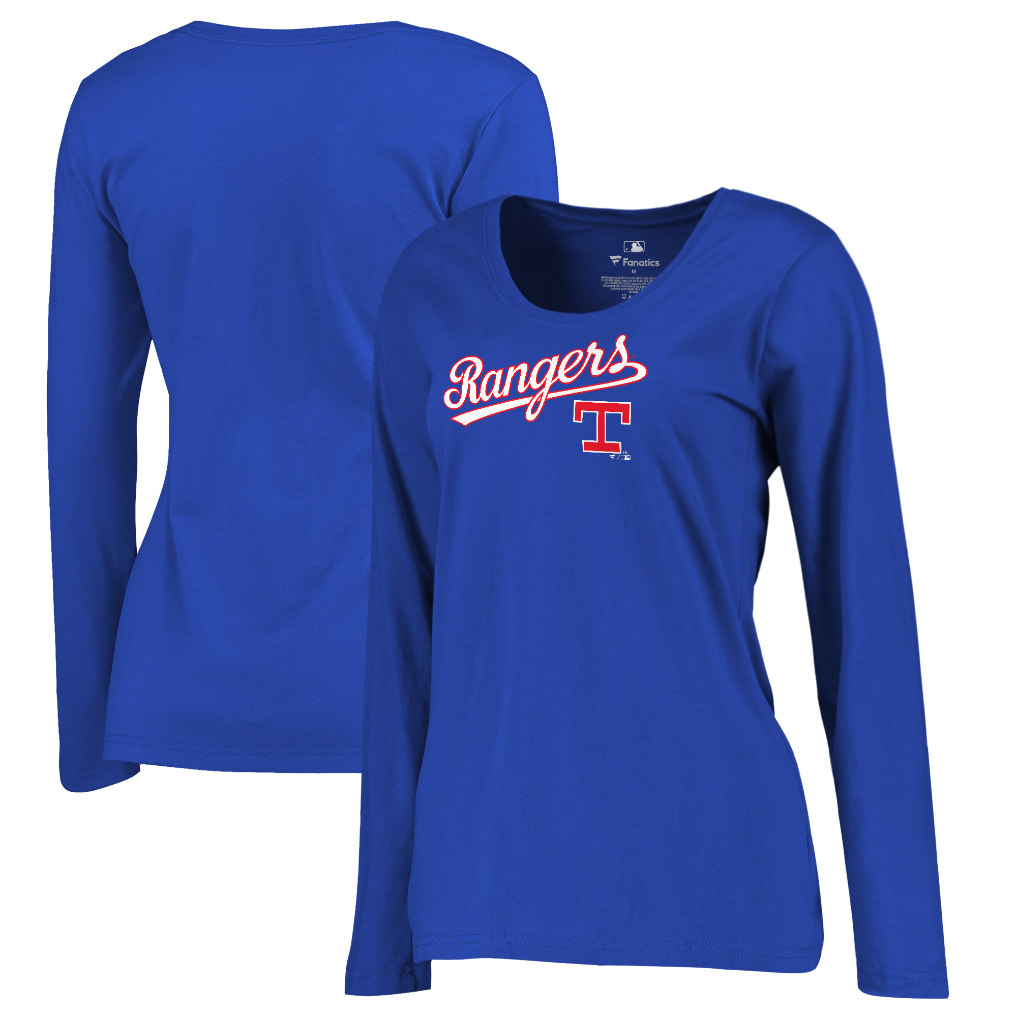 Texas Rangers Fanatics Branded Women's Plus Size Cooperstown Collection Wahconah Long Sleeve T-Shirt - Royal