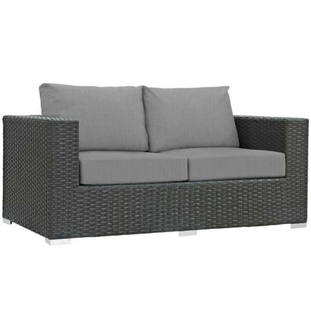 Modern Contemporary Urban Design Outdoor Patio Balcony Garden Furniture Lounge Loveseat Sofa, Sunbrella Rattan Wicker, Grey Gray