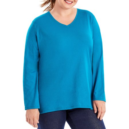 Just My Size Plus Size Womens Long Sleeve V Neck Tee