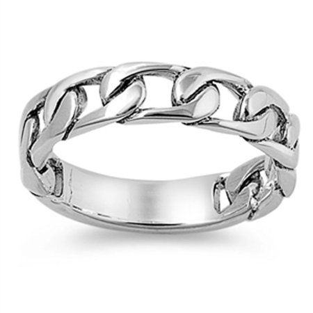 Sterling Silver Women's Curb Link Chain Design Ring (Sizes 5-12) (Ring Size -