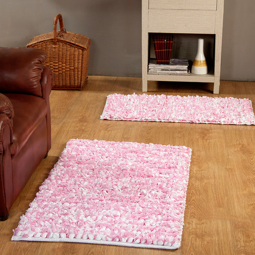 Affinity Home Collection 2 Piece Hand Woven Paper Shag Area Rug Set