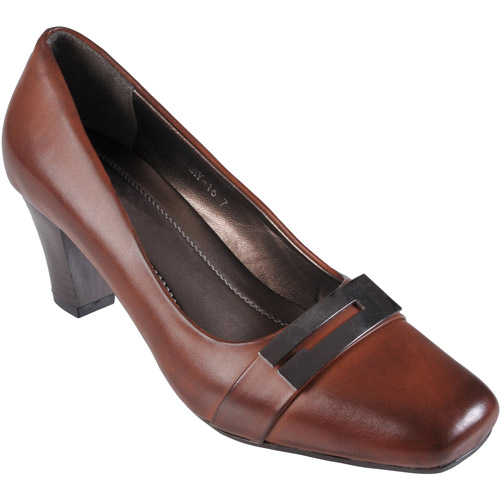 Brinley Co Womens Faux Leather Square Toe Pump