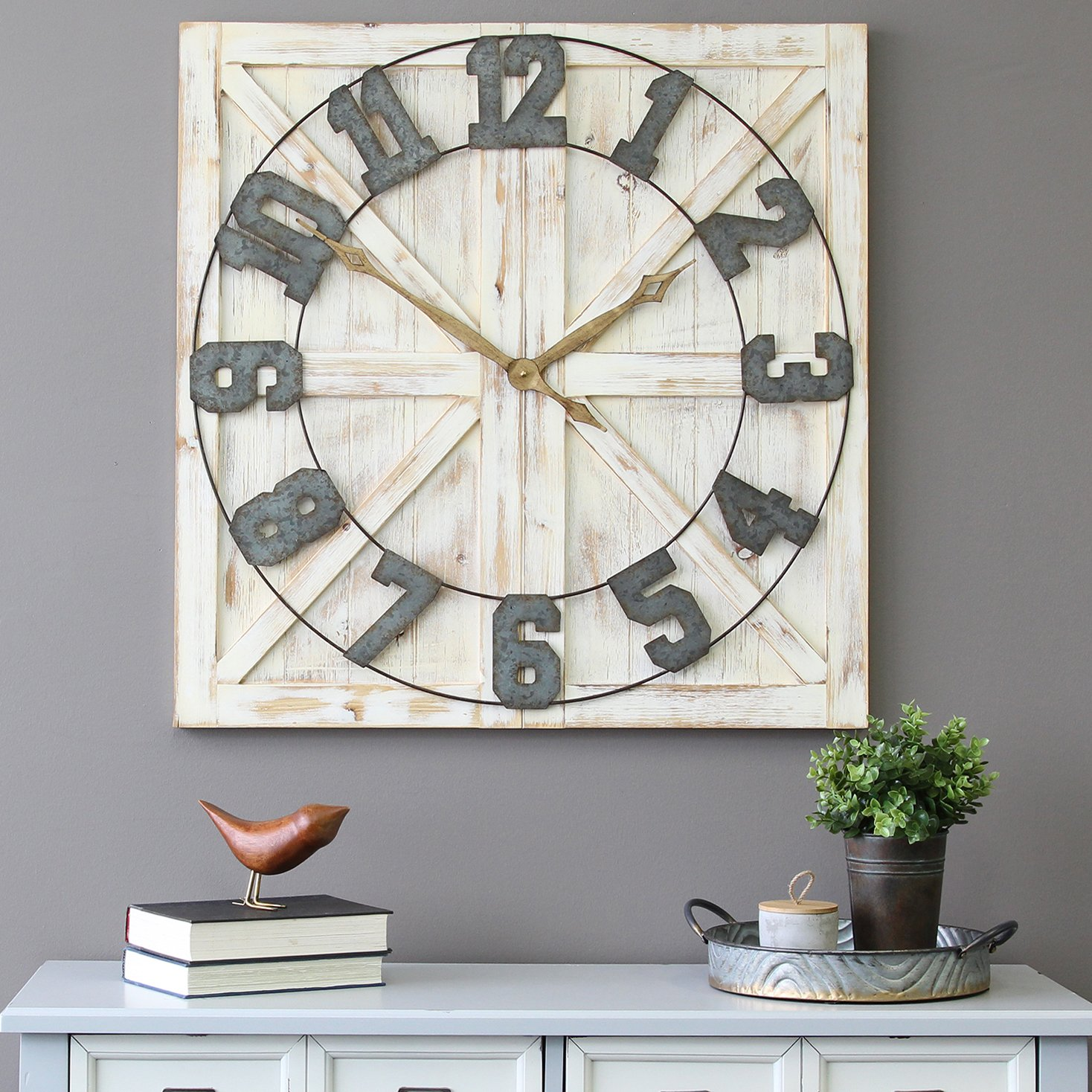 Square Window Wall Clock Distressed White Wood Metal Farmhouse Shabby Chic Decor
