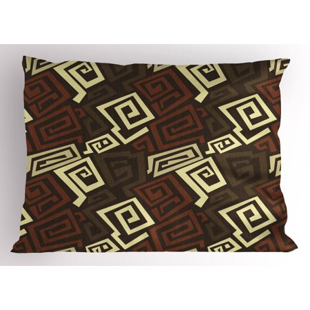 Grunge Pillow Sham Ancient Indigenous Design with Grunge Effect Twisted Lines Geometric Folk, Decorative Standard Size Printed Pillowcase, 26 X 20 Inches, Brown Cinnamon Ivory, by Ambesonne