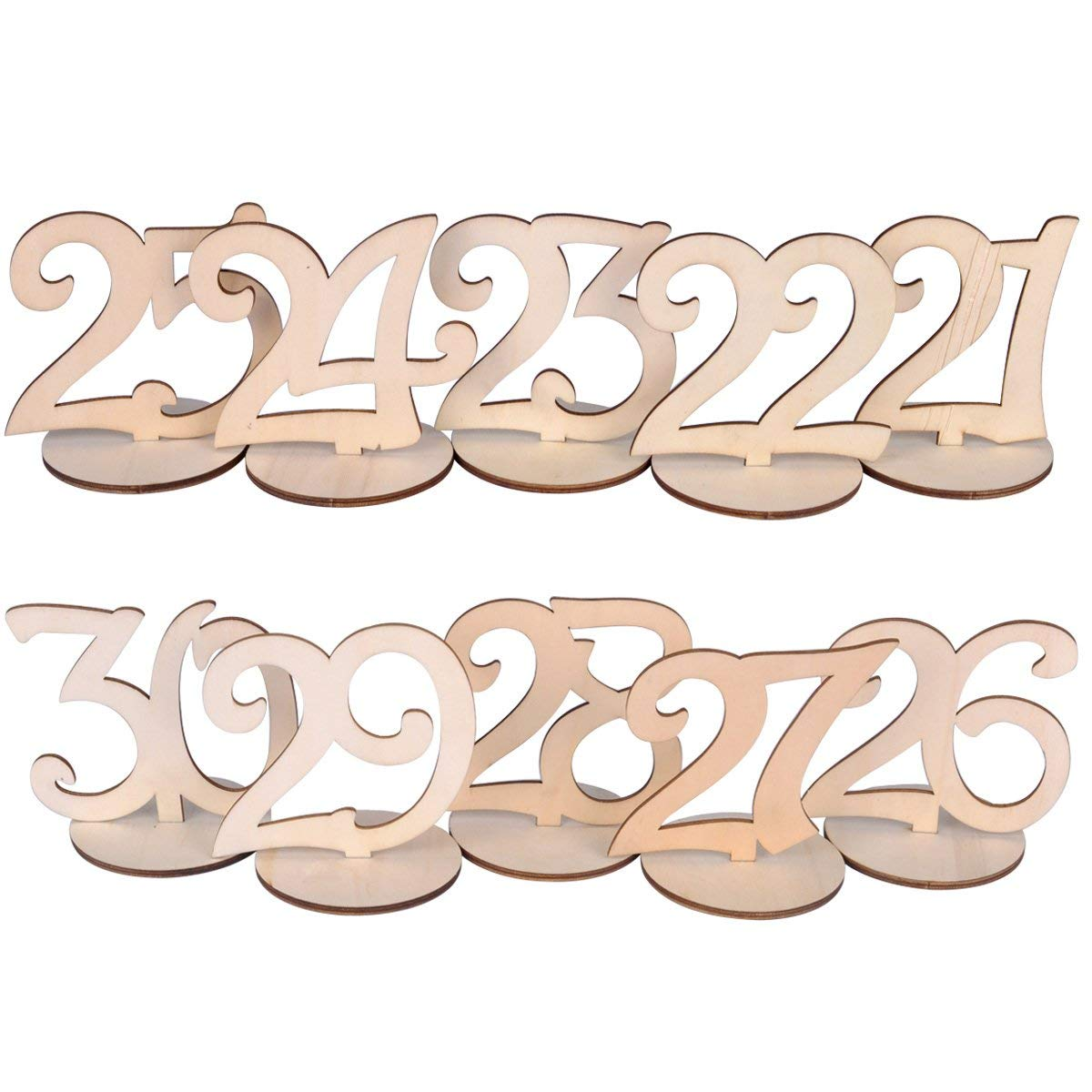 Table Numbers Wedding.Ezakka Wedding Table Numbers 21 30 Wood Wooden With Holder Base For Wedding Party Home Decoration Vintage Birthday Event Banquet Anniversary Decor