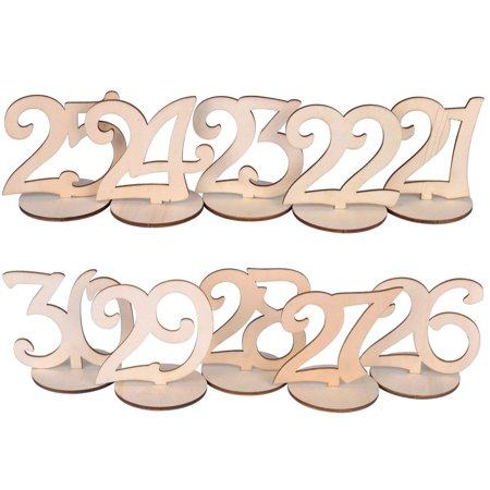 eZAKKA Table Numbers 21-30 Wood Wooden Wedding Table Numbers with Holder Base for Wedding Party Home Decoration Vintage Birthday Event Banquet Anniversary Decor Catering - Table Numbers For Wedding Reception
