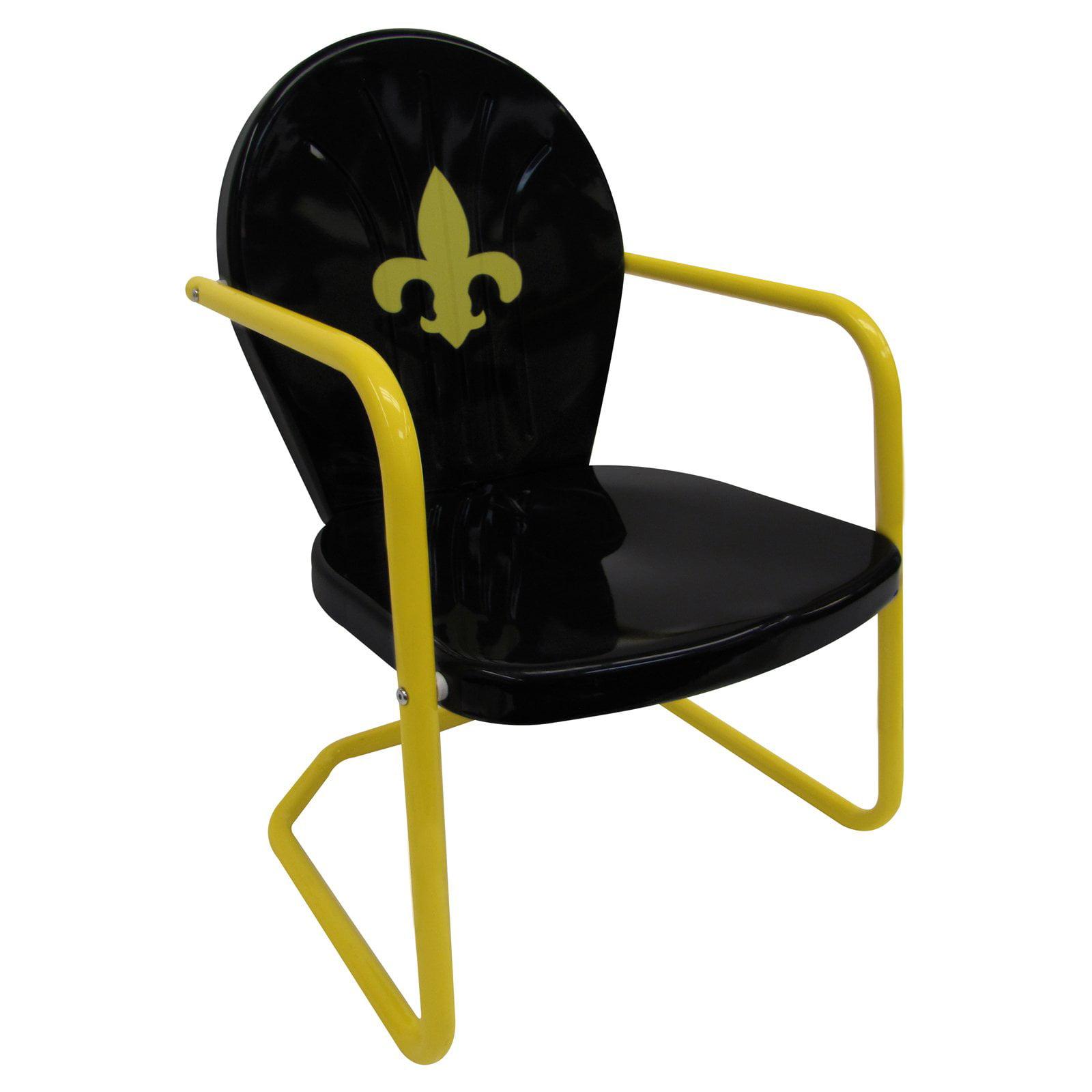 Leigh Country Retro Red Metal Bounce Chair - Fleur De Lis - Black/Yellow