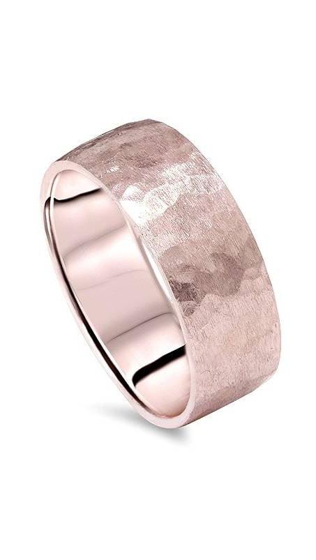 High Polish 14k Rose Gold Hammered Band Baby Ring