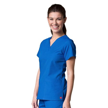 Red Panda Women's V-Neck Two Pocket Solid Scrub (2 Pocket Scrub Top)