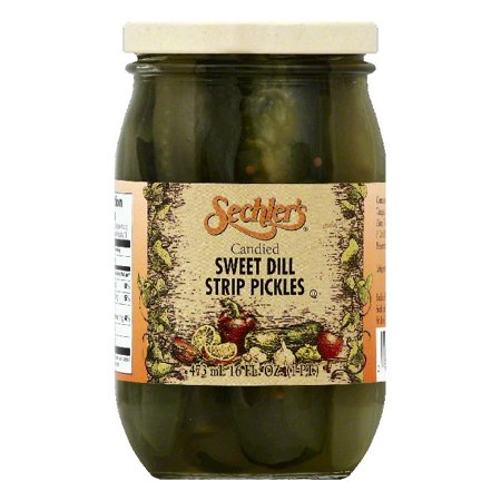 Mild Sweet Pickles (Sechlers Candied Sweet Dill Strip Pickles, 16 OZ (Pack of 6) )