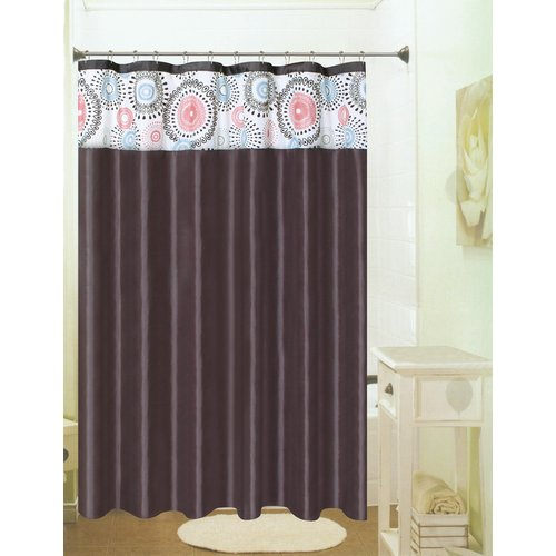 Meghan Fabric Shower Curtain, Jointed Teardrop Flocking Top - Chocolate