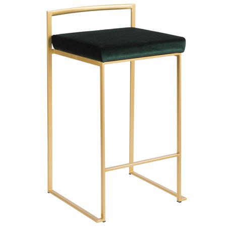Fuji Contemporary Stackable Counter Stool in Gold with Green Velvet Cushion by LumiSource - Set of 2