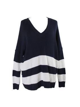 90d0fe14e74 Product Image Lauren Ralph Lauren Navy V-Neck Striped Cotton Sweater L