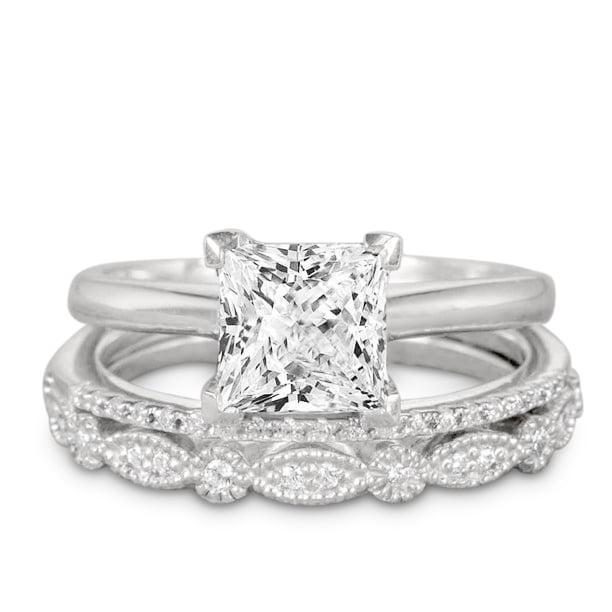 Jeenmata 2 Carat Princess Wedding Ring Set Bridal Set Wedding Trio Set Engagement Ring Art Deco Ring Promise Ring Sterling Silver Walmart Com Walmart Com