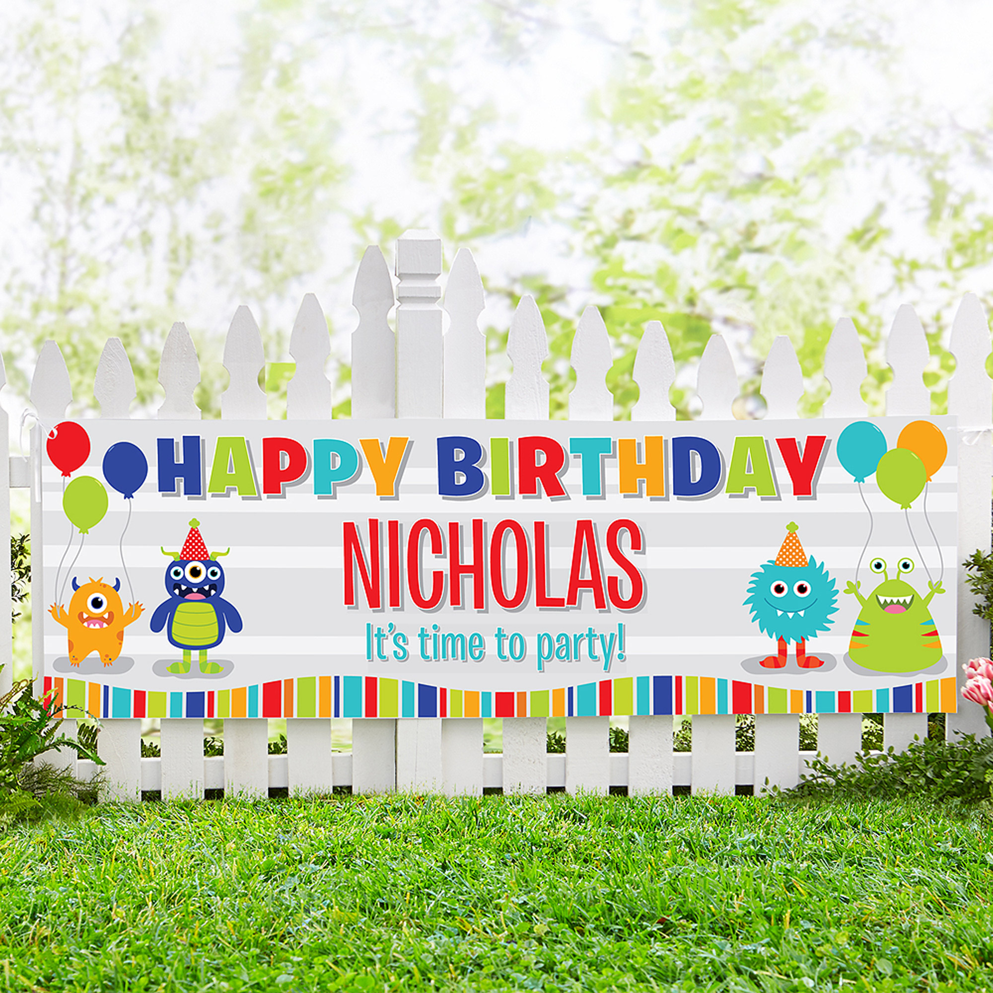 Personalized Little Monsters Birthday Banner