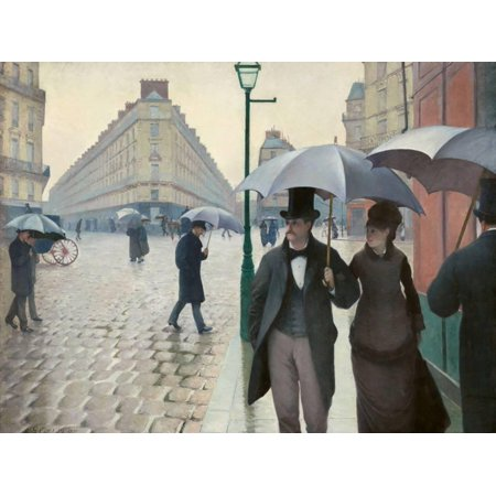 Paris Street in Rainy Weather (Paris, Rainy Day) by Gustave Caillebotte Urban Scene Figurative Art Print Wall Art