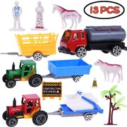 Boy Toy Car Farmer Truck Role Play Action Figure Diecast Vehicle Tow Trailer Play Set for Party Favors with Animals, Farmers, Wagons, Trucks, Accessories 13PCs F-79