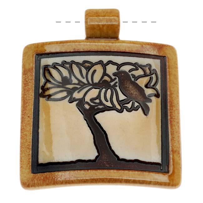 Clay River Designs Porcelain Pendant, 45mm Glazed Square W/ Bird In Tree, 1 Piece, Honey
