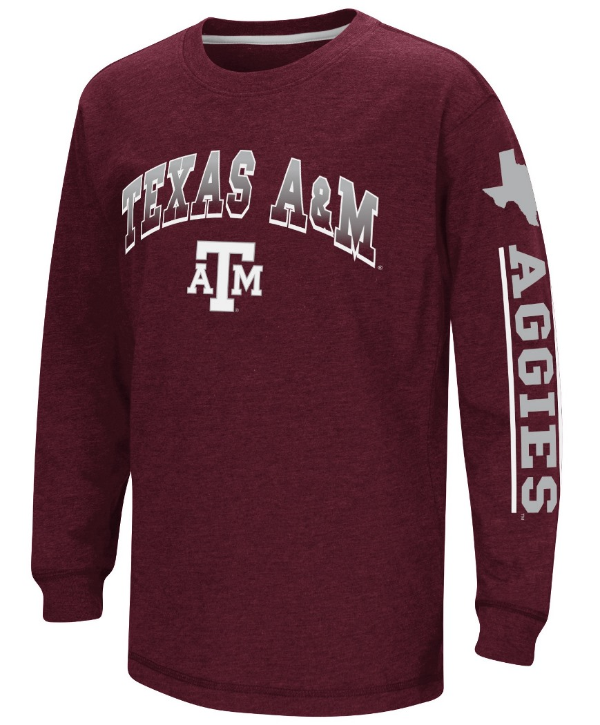 "Texas A&M Aggies NCAA ""Grandstand"" Long Sleeve Dual Blend Youth T-Shirt by Colosseum"