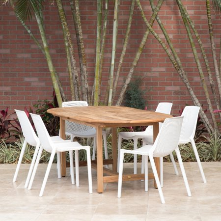 Amazonia Teak  Nassau White 7-Piece Extendable Oval Sidechair Patio Dining Set
