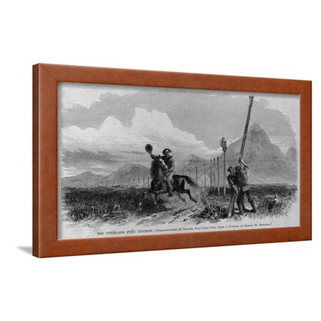 The Overland Pony Express. Photographed by Savage, Salt Lake City, from a Painting by George M. Ott Framed Print Wall Art - Salt Lake City Express