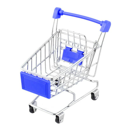 Royal Blue Metal - Ornament Size Household Desktop Metal  Shopping Trolly Container Cart Royal Blue