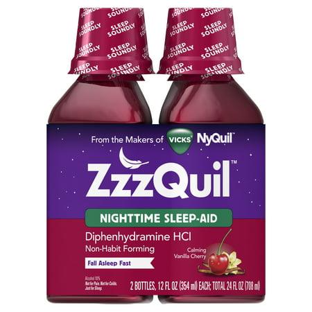 Vicks ZzzQuil Nighttime Sleep Aid, Calming Vanilla Cherry Liquid, 2x12 (Best Home Remedy Sleep Aid)