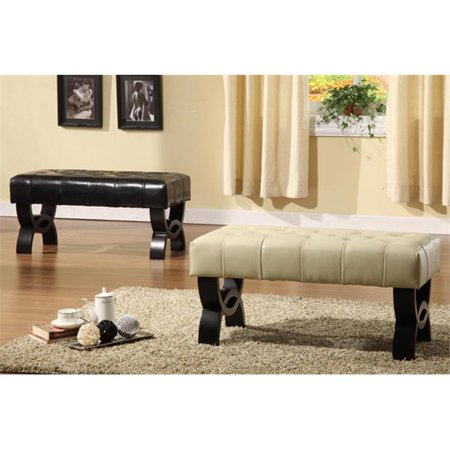 5012 Central Park 36 Inch Tufted Cream Leather Ottoman