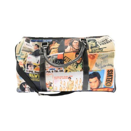 Elvis Presley Signature Product Elvis Lifetime Collage Overnight Bag Multicolored (Cline Products Bags)