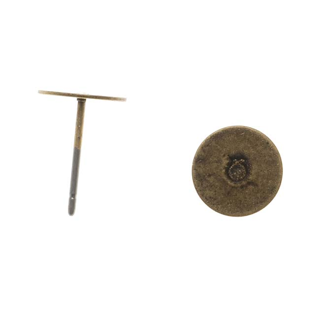 Antiqued Brass Flat 8mm Glue On Earring Posts (10 Pairs)