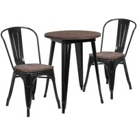 """Set of 3 Black and Brown Round Metal Table with Wood Top and Stack Chairs 33"""""""