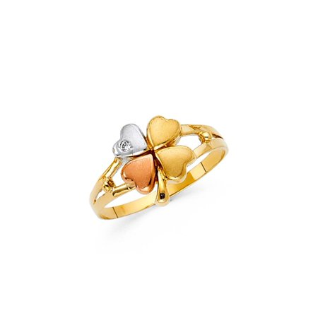 14K Solid Yellow Gold Tri-color Clover Cubic Zirconia Ring, Size 4.5