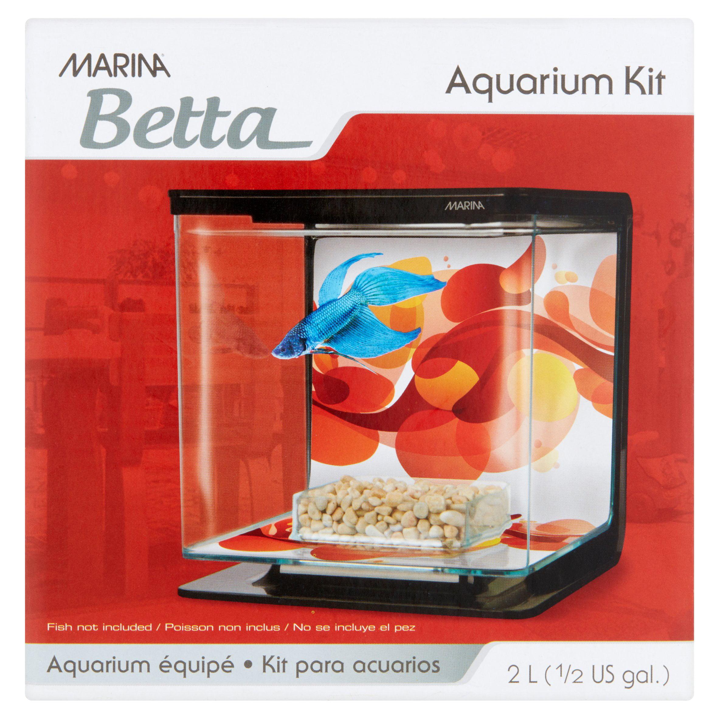 Marina Betta 0.5-Gallon Aquarium Starter Kit, Sun Swirl