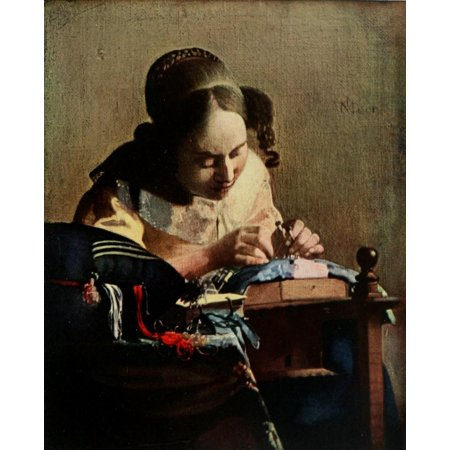 1911 Painting - The Lace-maker History of Painting 1911 Stretched Canvas - Johannes Vermeer (18 x 24)