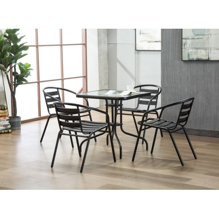 Porthos Home Indoor-Outdoor Metal Restaurant Stack Chair with Triple Slat Back, Patio Furniture Set of 2 ()